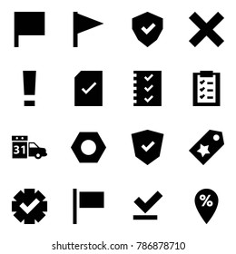 Origami style icon set - flag vector, shield, delete, warning, check document, list, clipboard, maintenance, nut, star label, guarantee, percent pin