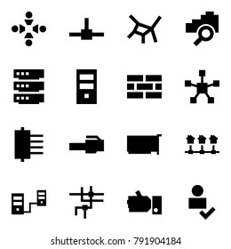 Origami style icon set - friendship vector, connect, network, cloud search, server, firewall, star, hub, connector, card, local, connected servers, like, user check