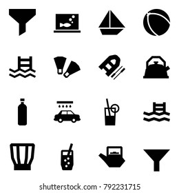 Origami style icon set - funnel vector, aquarium, sail ship, ball, pool, flippers, boat, kettle, water, car wash, drink, soda