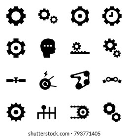 Origami style icon set - gear vector, gears, clock, thinking, steering gearbox, cardan shaft, generator, engine belt, chain