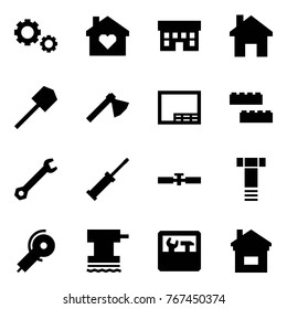 Origami style icon set - gears vector, family home, house, shovel, axe, drawing, blocks, wrench, screwdriver, cardan shaft, bolt, angle grinding machine, grinder, repair