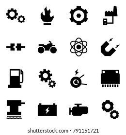 Origami style icon set - gears vector, fire, gear, factory server, connect, atv, atom, magnet, gas station, generator, car processor, grinder, battery, engine