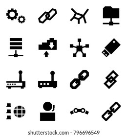 Origami style icon set - gears vector, link, network, share folder, server, cloud exchange, star, usb, router, receptionist, chain