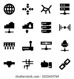 Origami style icon set - globe vector, friendship, network, server, cloud service, exchange, wireless, hub, router, disk, printer, connection, like, link