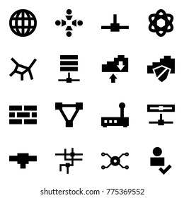 Origami style icon set - globe vector, friendship, connect, network, server, cloud exchange, safe, firewall, triangle, router, disk, connection, spark distributor, user check