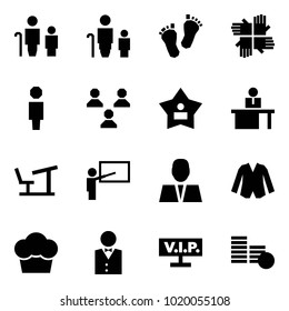 Origami style icon set - grandfather and grandson vector, grandmother, baby feet, palms, user, group, best, manger, desk, teacher, jacket, cupcake, waiter, vip, coins
