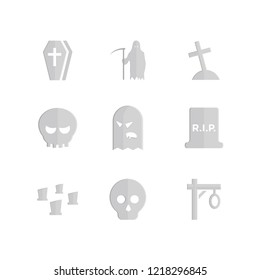 Origami style icon set - grave vector, coffin, grim reaper, bones, skull, ghost, monster, cross, zombie, cemetery with flat design style