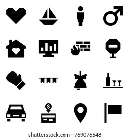 Origami style icon set - heart vector, sail boat, woman, male sign, family home, statistics, firewall, stop, box, garland, bell, wine, taxi, cash back, pin, flag