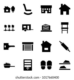 Origami style icon set - home and tree vector, rocking chair, house, local network, trailer, office, key, garage, rolling pin, fire pan, wardrobe, slippers