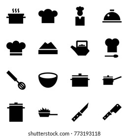 Origami style icon set - hot pan vector, cook hat, dish hood, chef cap, kettle, kitchen, whisk, bowl, saute, big, fire, knife