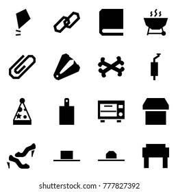 Origami style icon set - kite vector, link, book, grill, clip, anti stapler, bones, muffler, party hat, cutting board, oven, box, shoes, russian