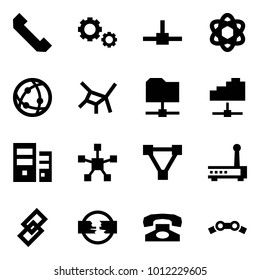 Origami style icon set - phone horn vector, gears, connect, network, share folder, cloud service, server, star, triangle, router, link, disconnect, chain