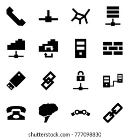 Origami style icon set - phone horn vector, connect, network, server, cloud service, exchange, firewall, usb, link, locked, connected servers, brain, chain