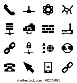 Origami style icon set - phone horn vector, connect, network, server, exchange, firewall, router, link, locked, disconnect, cursor, mobile shopping