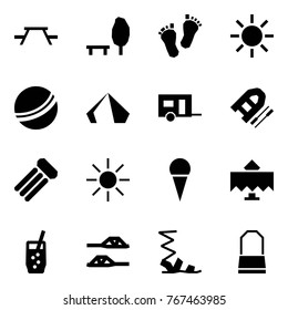 Origami style icon set - picnic table vector, park, baby feet, sun, ball, tent, trailer, boat, inflatable mattress, ice cream, restaurant, soda, slippers, sandals, lady bag