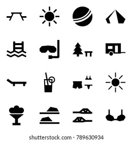Origami style icon set - picnic table vector, sun, ball, tent, pool, diving, camping sign, trailer, lounger, drink, beach party, ice cream, slippers, bra