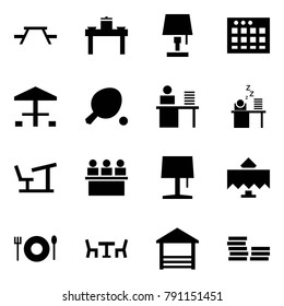 Origami style icon set - picnic table vector, dinner, lamp, sheet, camping, ping pong, manager, sleeping, desk, lecture hall, restaurant, cafe, terrace, coin stack