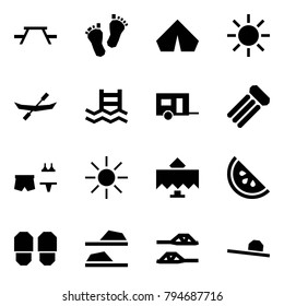 Origami style icon set - picnic table vector, baby feet, tent, sun, canoe, pool, trailer, inflatable mattress, beach party, restaurant, watermelone, slippers, female hat