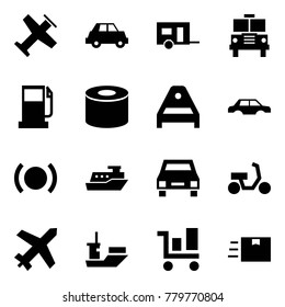 Origami style icon set - plane vector, car, trailer, school bus, gas station, silent block, suspension arm, body, brake, cruiser, taxi, scooter, shipping, trolley, fast deliver