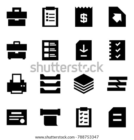 Origami Style Icon Set Portfolio Vector Clipboard Receipt Upload Document List Download Check Printer Paper Tray Certificate Scroll