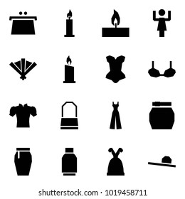 Origami style icon set - purse vector, candle, toastmaster, fan, corset, bra, blouse, lady bag, female overalls, skirt, tulip, dress, hat
