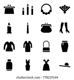Origami style icon set - purse vector, candles, necklace, fan, candle, boots, blouse, bathrobe, lady bag, skirt, tulip, dress, female hat