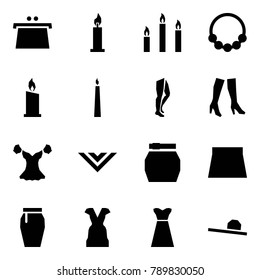 Origami style icon set - purse vector, candle, candles, necklace, legs, boots, blouse, shawl, skirt, dress, female hat