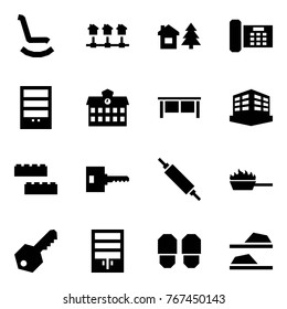 Origami style icon set - rocking chair vector, local network, chalet, phone, bookcase, school, desk, building, blocks, key, rolling pin, fire pan, wardrobe, slippers