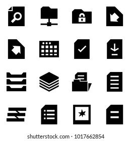 Origami style icon set - search document vector, share folder, safe, download, upload, table sheet, check, paper tray, photo