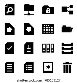 Origami style icon set - search document vector, share folder, safe, download, upload, table sheet, check, binder, paper tray, photo, trash bin