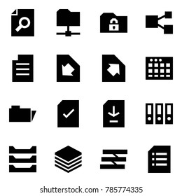 Origami style icon set - search document vector, share folder, safe, download, upload, table sheet, check, binder, paper tray