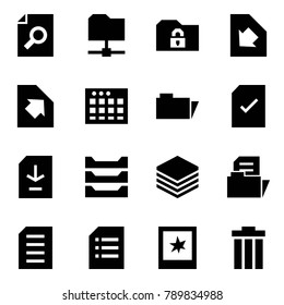 Origami style icon set - search document vector, share folder, safe, download, upload, table sheet, check, paper tray, photo, trash bin