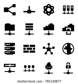 Origami style icon set - share vector, connect, network, servers, folder, server, cloud service, exchange, firewall, star, earth, disk, local, printer, locked