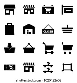 Origami style icon set - store vector, shop, sign, bag, warehouse, close, basket, add to, cart, coupon, hangers, floor hanger