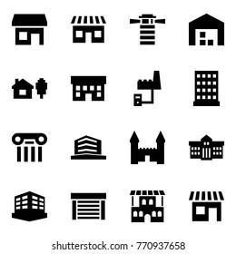 Origami style icon set - store vector, shop, lighthouse, warehouse, home and tree, house, factory server, hotel, excursion, office, mansion, university, building, garage, restaurant