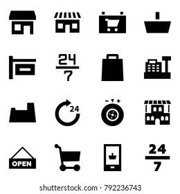 Origami style icon set - store vector, shop, sign, basket, 24 7, bag, cashbox, potty, around, tyre balance, restaurant, open, cart, mobile shopping