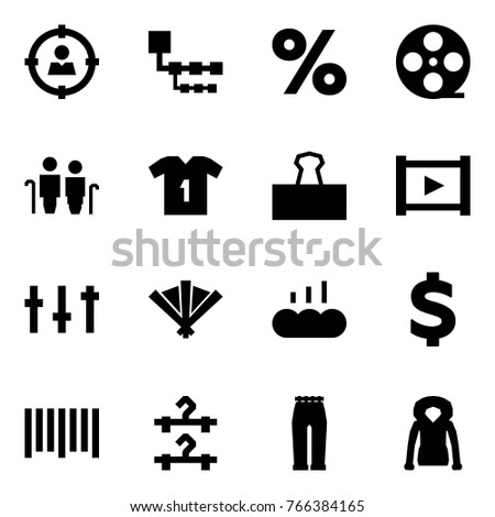 Origami Style Icon Set Target Audience Stock Vector Royalty Free