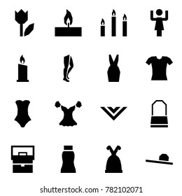 Origami style icon set - tulip vector, candle, candles, toastmaster, legs, dress, blouse, swimsuit, shawl, lady bag, skirt, female hat