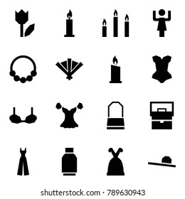 Origami style icon set - tulip vector, candle, candles, toastmaster, necklace, fan, corset, bra, blouse, lady bag, female overalls, skirt, dress, hat