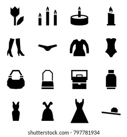 Origami style icon set - tulip vector, candles, candle, boots, underpants, blouse, swimsuit, lady bag, skirt, dress, female hat