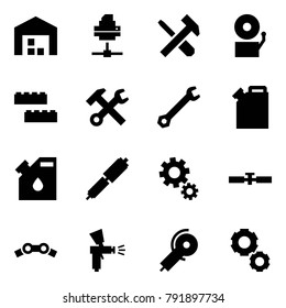 Origami style icon set - warehouse vector, printer, screwdriver cross hammer, bell, blocks, wrench, canister, drop, shock absorber, gears, cardan shaft, chain, spray gun, angle grinding machine