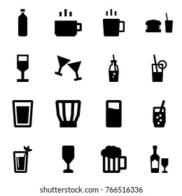 Origami style icon set - water vector, hot drink, brake, dinner, alcohol, wine glass, soda, phyto bar, beer