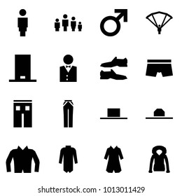 Origami style icon set - woman vector, family, male sign, paraplane, cylinder hat, waiter, shoes, underpants, shorts, pants, jacket, coat