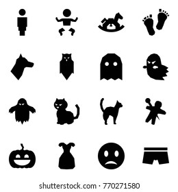 Origami style icon set - woman vector, baby, rocking horse, feet, dog, owl, ghost, cat, woodoo doll, pumpkin, coctail dress, melancholy, underpants
