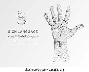 Origami style Sign language number five gesture, human hand showing five fingers. Polygonal low poly high five, succes teamwork. Deaf People silent communication alphabet. Wireframe Vector 5 on white