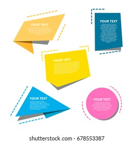 Origami style text templates for banner. Creative flat elements for website.