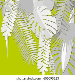 Origami tropical plants. White leaves of paper on mustard background
