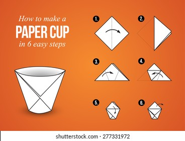 Origami Tutorial â?? Make a Paper Cup in 6 easy steps with orange background (landscape orientation)