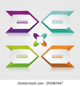 Origami vector banner. White banner wrapped with colored paper