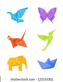 Origami vector set, multicolored